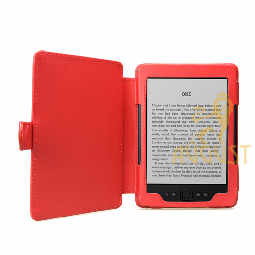 Genuine Leather Kindle Case - Red