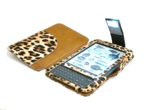Leopard print kindle keyboard case with led light for House key cover with light