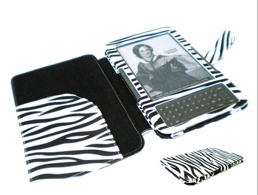 Zebra print kindle 3 case with led light for House key cover with light