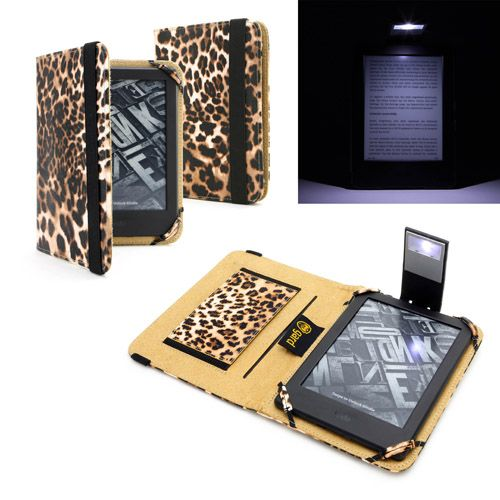 "Amazon Kindle E-Reader with Touch 6"" Leopard Case Cover with LED Light"