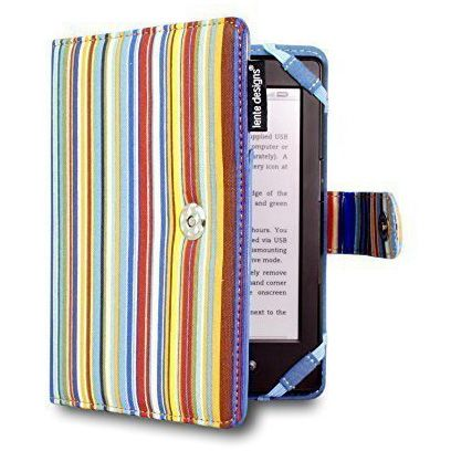 Canvas Kindle Case Bright Striped Cover