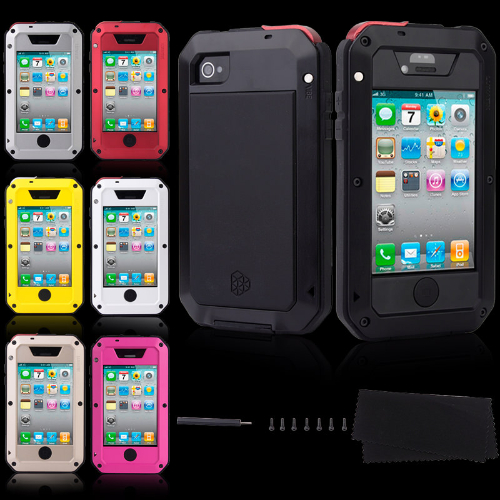 iPhone 4 4S Shockproof Aluminum Water Resistant Metal Cover Case