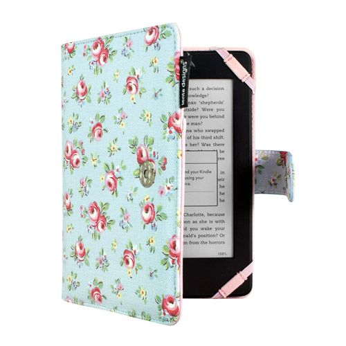 Ladies Canvas Kindle Case Floral Pink Roses