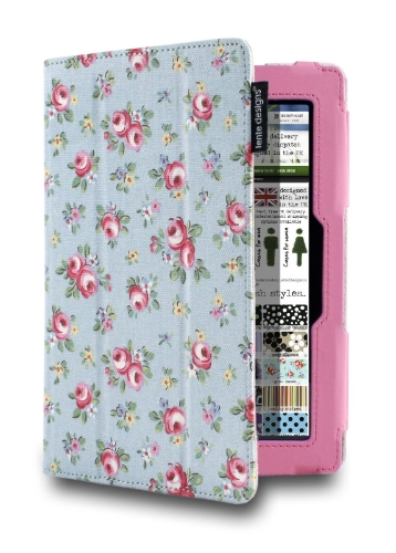"Lente Designs® Amazon Kindle Fire HD 7"" (3rd Gen, 2013) Canvas Pink Roses Case"